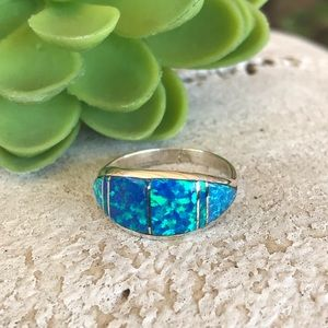 Zuni Sterling Silver Blue Opal Inlay Ring